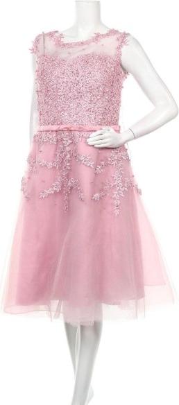 Różowa sukienka Babyonlinedress z okrągłym dekoltem bez rękawów