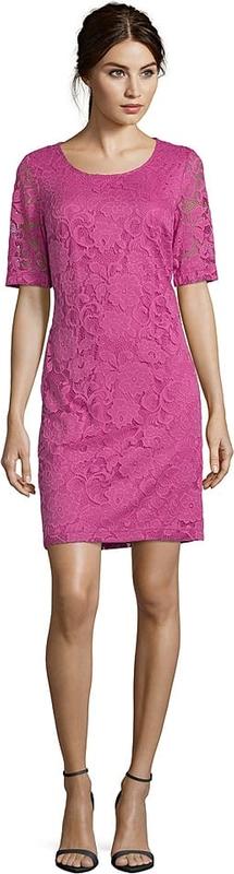 Różowa sukienka Betty Barclay z krótkim rękawem z okrągłym dekoltem mini