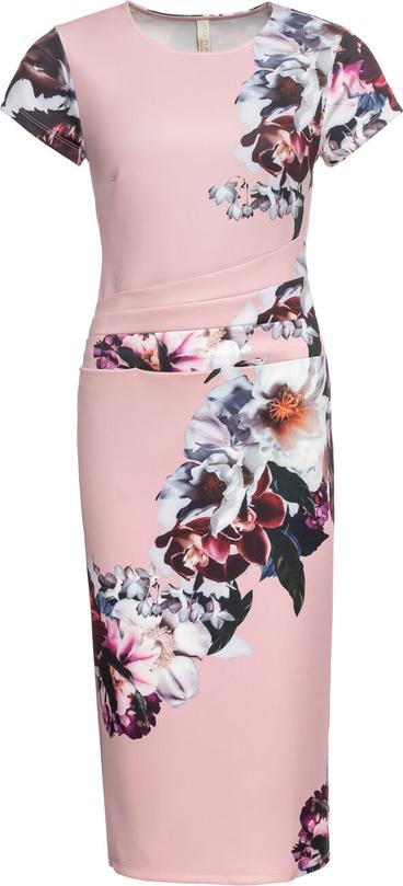Różowa sukienka bonprix BODYFLIRT boutique z krótkim rękawem midi z okrągłym dekoltem