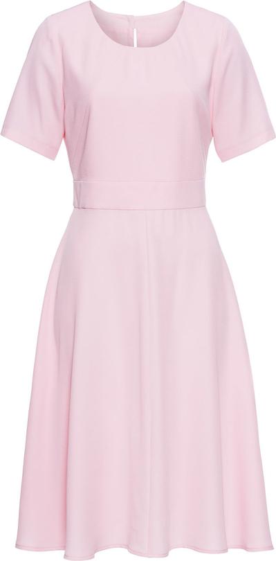Różowa sukienka bonprix BODYFLIRT na co dzień z dżerseju z krótkim rękawem