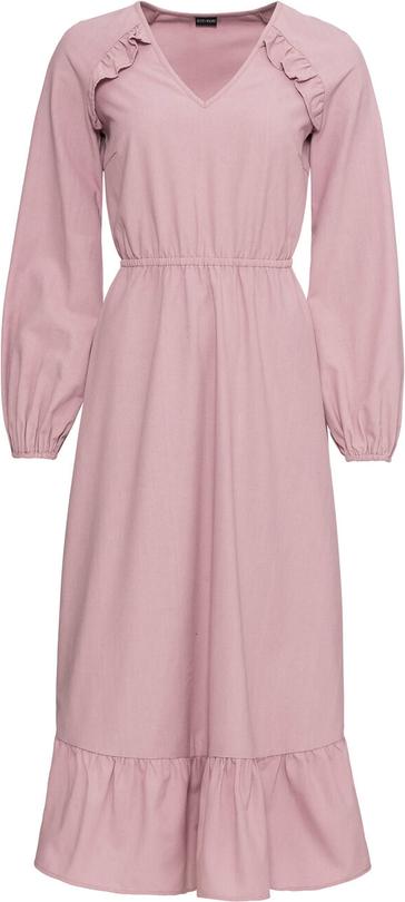 Różowa sukienka bonprix BODYFLIRT z długim rękawem midi w stylu casual