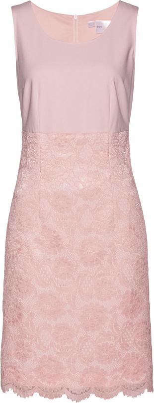 Różowa sukienka bonprix bpc selection premium w koronkowe wzory bez rękawów