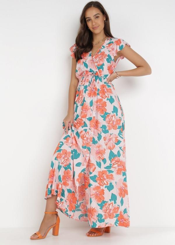 Różowa sukienka born2be maxi bez rękawów trapezowa