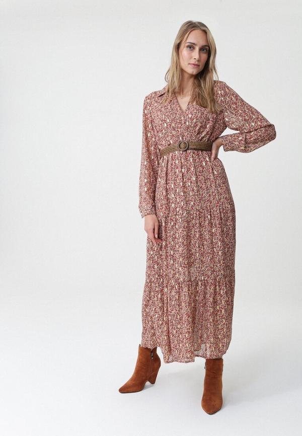 Różowa sukienka born2be maxi z długim rękawem