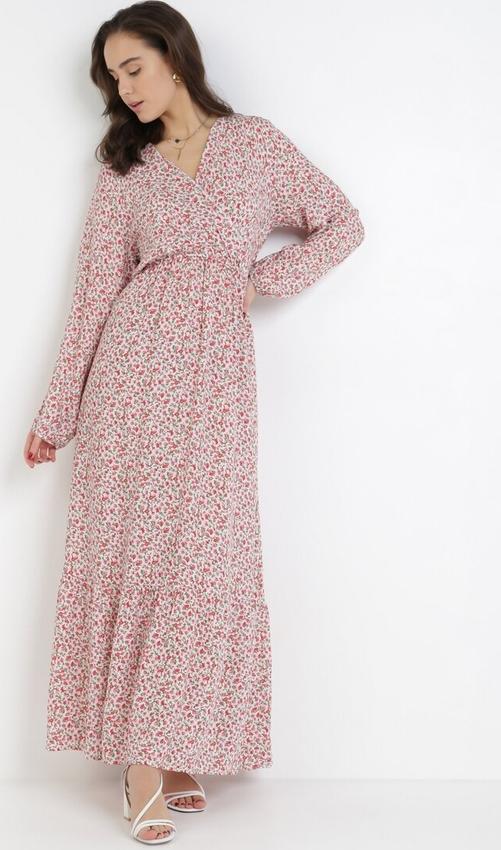 Różowa sukienka born2be maxi z długim rękawem z dekoltem w kształcie litery v