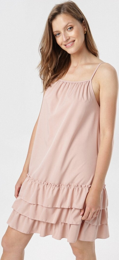 Różowa sukienka born2be mini w stylu casual