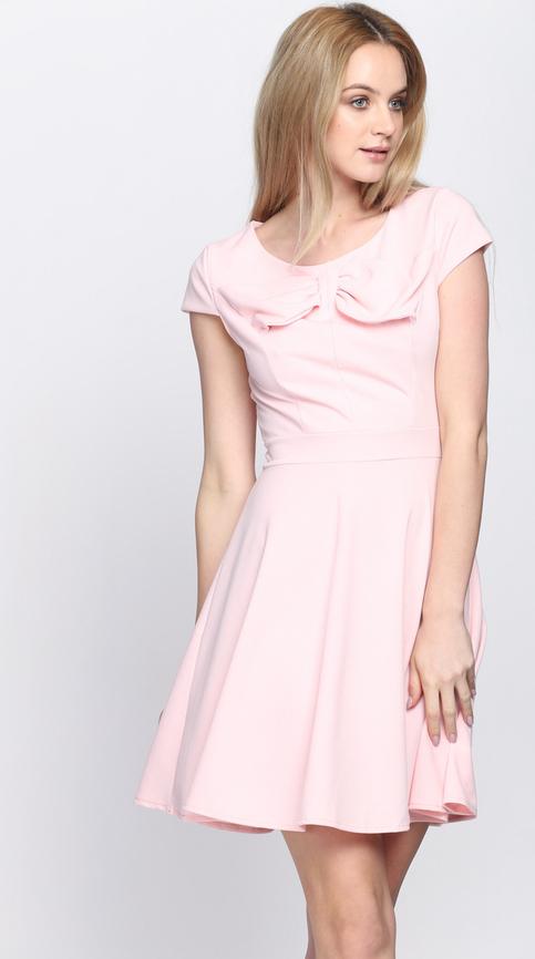 Różowa sukienka born2be w stylu klasycznym na co dzień z krótkim rękawem