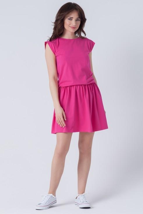 Różowa sukienka butik-choice.pl z okrągłym dekoltem z dresówki