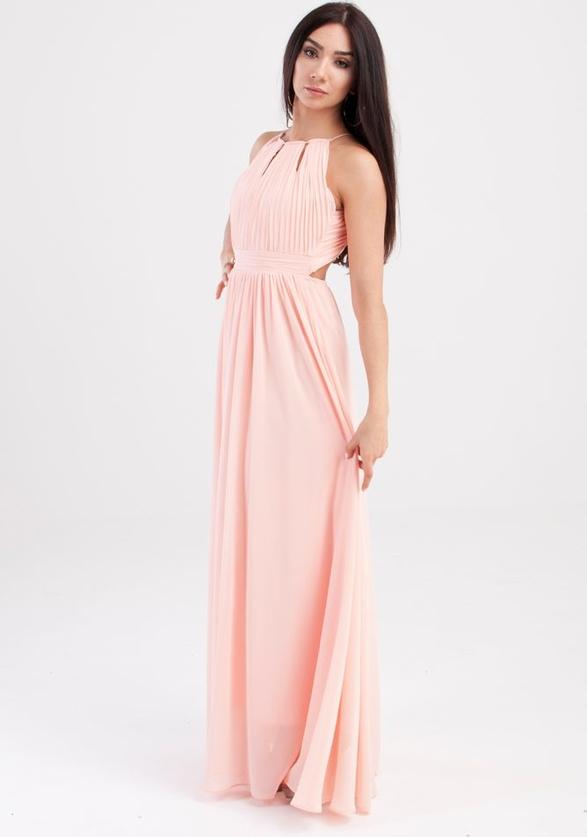 Różowa sukienka Butik Ecru bez rękawów prosta maxi