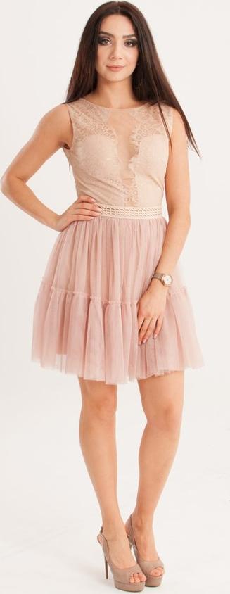 Różowa sukienka Butik Ecru bez rękawów z okrągłym dekoltem