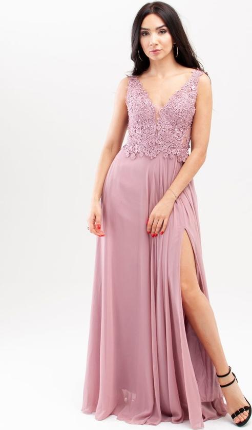 Różowa sukienka Butik Ecru dla puszystych maxi bez rękawów