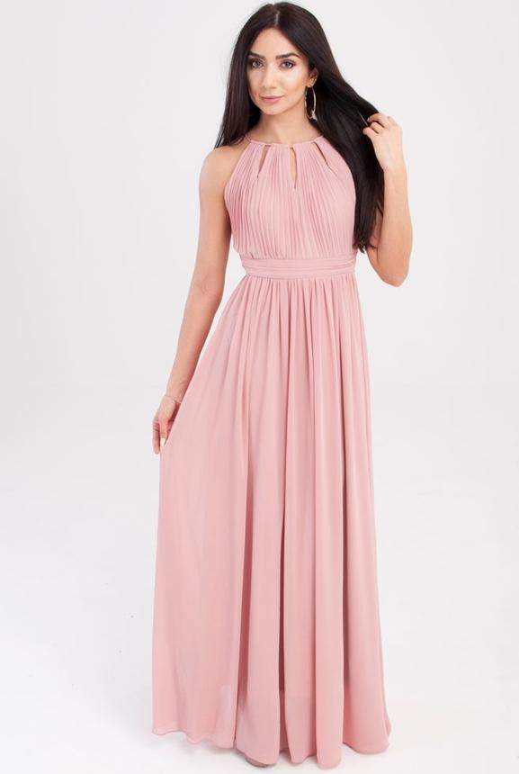 Różowa sukienka Butik Ecru maxi z dekoltem halter