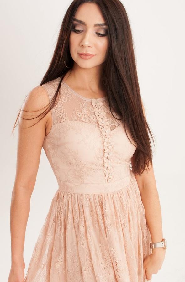 Różowa sukienka Butik Ecru mini z okrągłym dekoltem