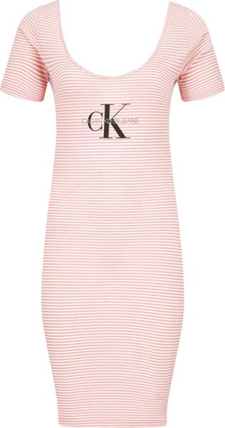 Różowa sukienka Calvin Klein z okrągłym dekoltem