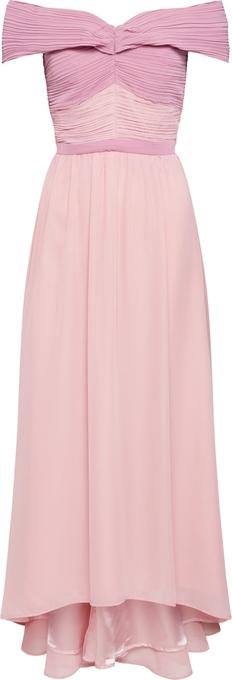 Różowa sukienka Chi Chi London z odkrytymi ramionami hiszpanka