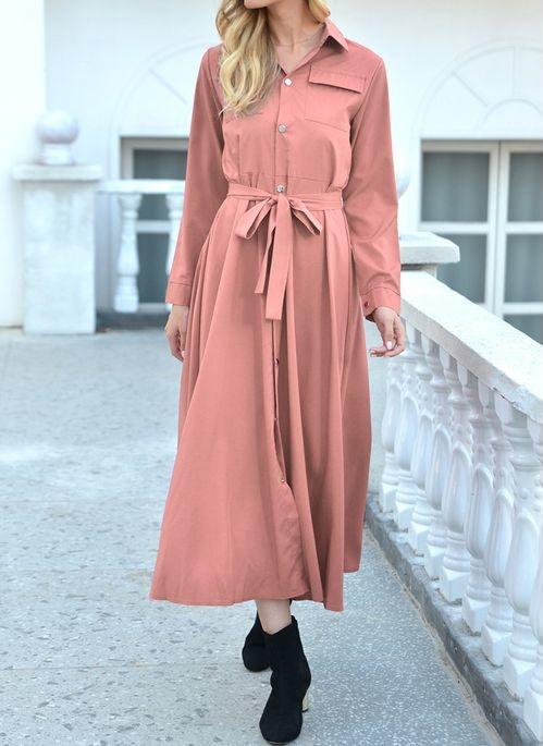 Różowa sukienka Cikelly maxi z kołnierzykiem koszulowa