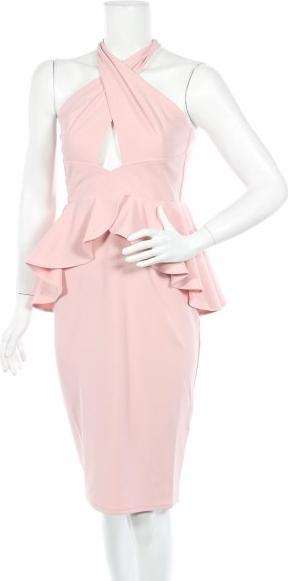 Różowa sukienka City Goddess z dekoltem halter bez rękawów baskinka