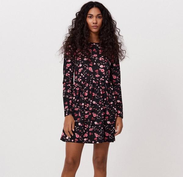 Różowa sukienka Cropp z długim rękawem