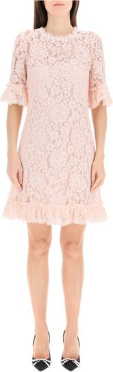 Różowa sukienka Dolce & Gabbana mini z krótkim rękawem