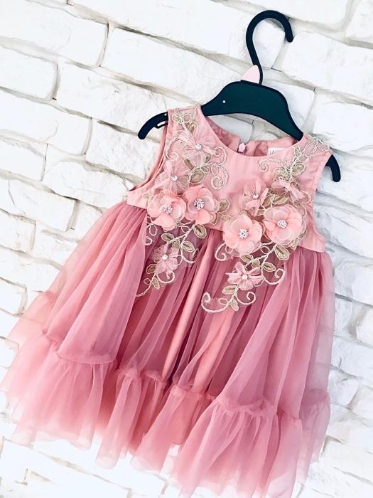 Różowa sukienka dziewczęca La Perełka w kwiatki