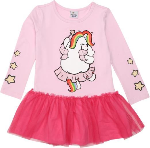 Różowa sukienka dziewczęca Pummeleinhorn z bawełny