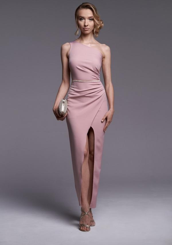 Różowa sukienka Ella Boutique bez rękawów maxi