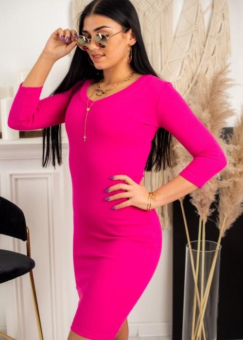Różowa sukienka Fason z długim rękawem z bawełny z dekoltem w kształcie litery v