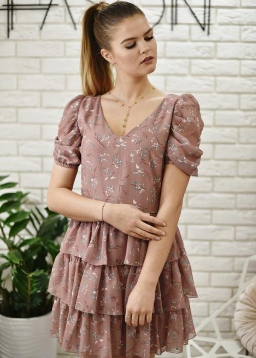 Różowa sukienka Fason z krótkim rękawem mini
