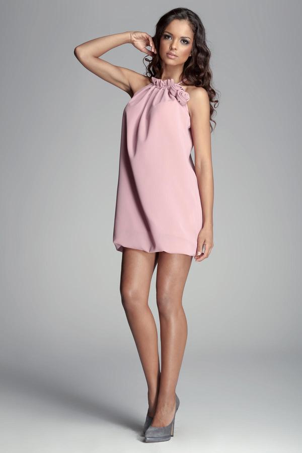 Różowa sukienka Figl mini bombka bez rękawów