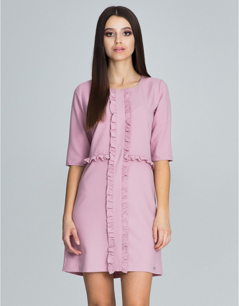 Różowa sukienka Figl z długim rękawem mini