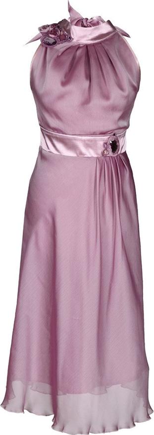 Różowa sukienka Fokus bez rękawów midi