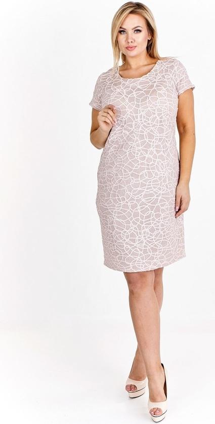 Różowa sukienka Fokus midi z krótkim rękawem