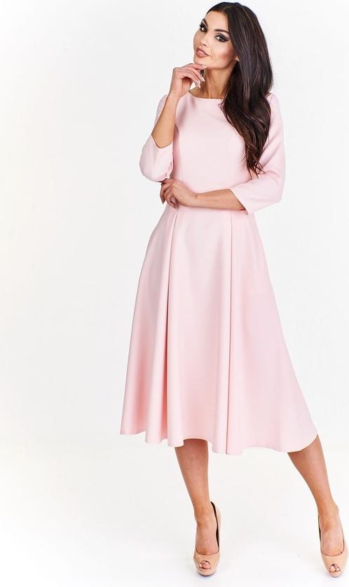 Różowa sukienka Fokus rozkloszowana midi