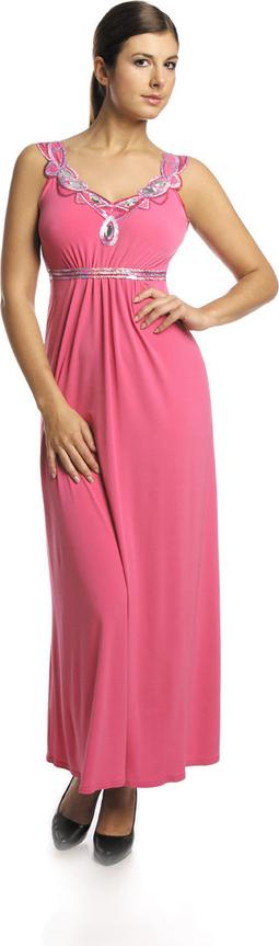 Różowa sukienka Fokus z dzianiny maxi