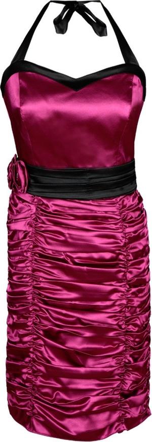 Różowa sukienka Fokus z kołnierzykiem dopasowana