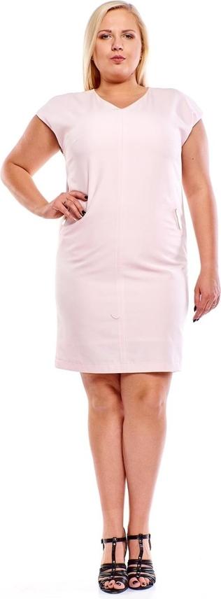 Różowa sukienka Fokus z krótkim rękawem oversize
