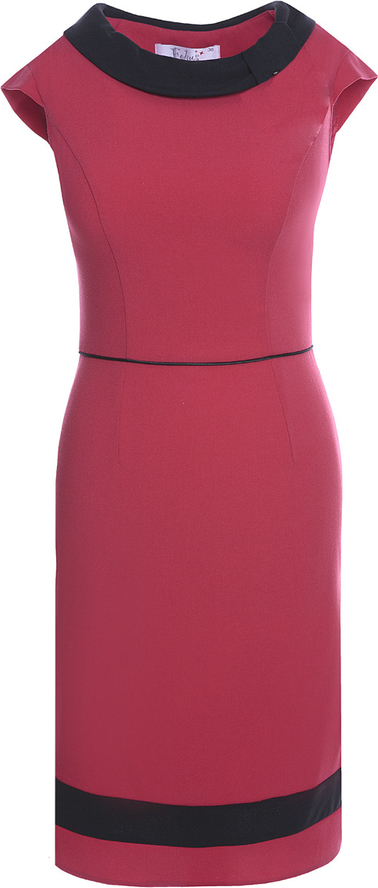 Różowa sukienka Fokus z okrągłym dekoltem midi z krótkim rękawem