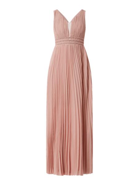 Różowa sukienka Forever Unique bez rękawów maxi z szyfonu