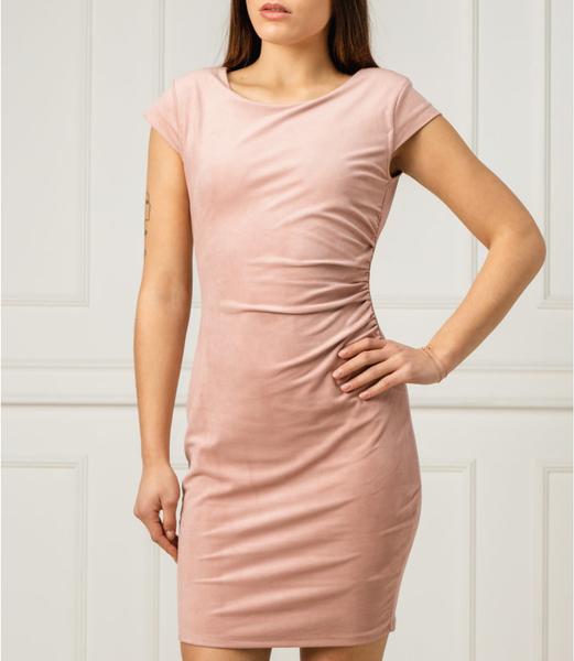 Różowa sukienka Guess w stylu casual z krótkim rękawem