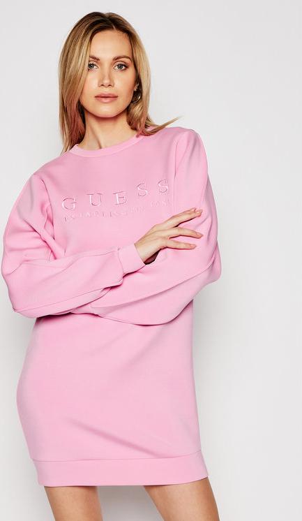 Różowa sukienka Guess z długim rękawem prosta