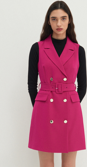 Różowa sukienka House z długim rękawem mini
