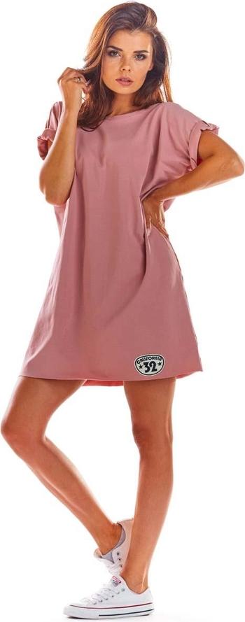 Różowa sukienka Infinite You mini z krótkim rękawem z nadrukiem