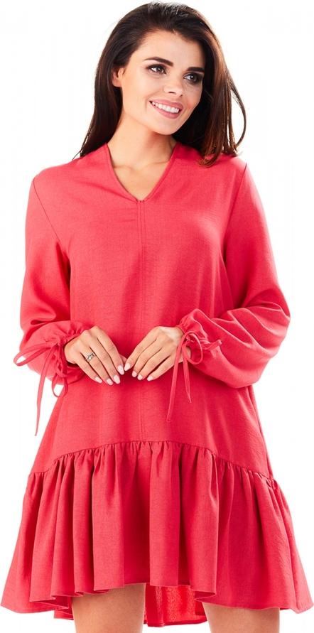 Różowa sukienka Infinite You z długim rękawem