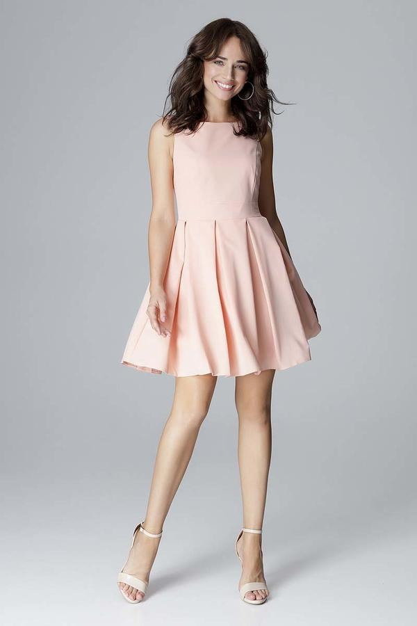 Różowa sukienka Katrus bez rękawów rozkloszowana