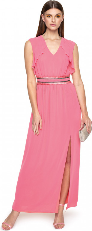Różowa sukienka L'AF z szyfonu maxi