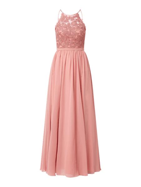 Różowa sukienka Laona maxi z dekoltem w kształcie litery v z szyfonu