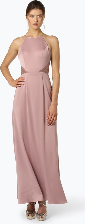 Różowa sukienka Laona z dekoltem halter prosta