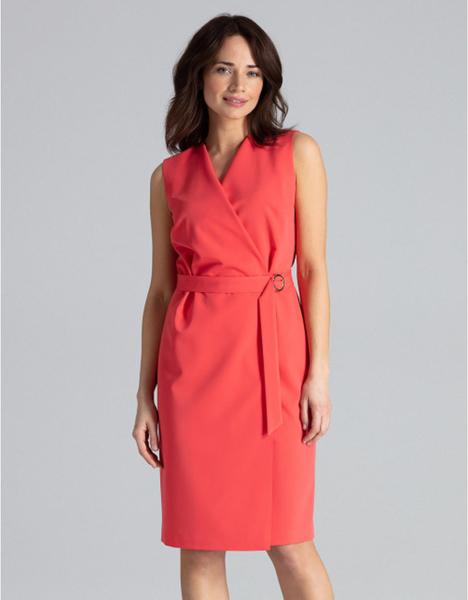 Różowa sukienka LENITIF bez rękawów ołówkowa