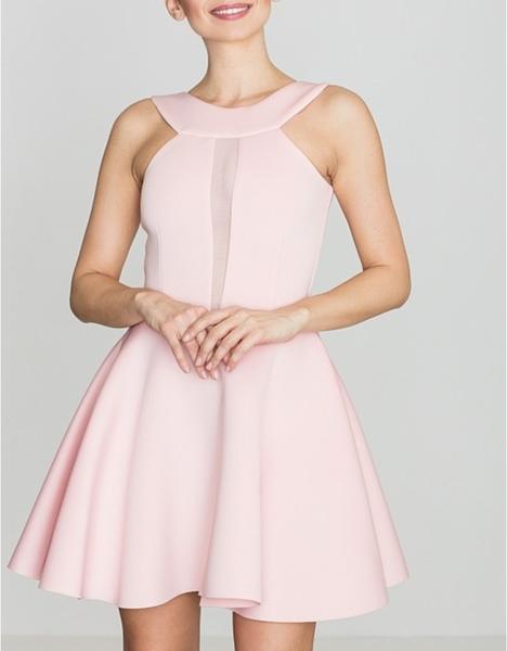 Różowa sukienka LENITIF bez rękawów rozkloszowana