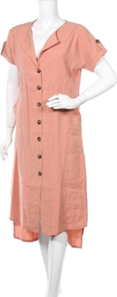 Różowa sukienka Liebesglück z dekoltem w kształcie litery v z krótkim rękawem midi